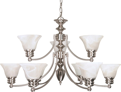 Nuvo Lighting 60/360 Empire 9 Light 32 Inch Chandelier with Alabaster Glass Bell Shades 2 Tier