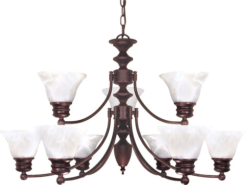 Nuvo Lighting 60/362 Empire 9 Light 32 Inch Chandelier with Alabaster Glass Bell Shades 2 Tier