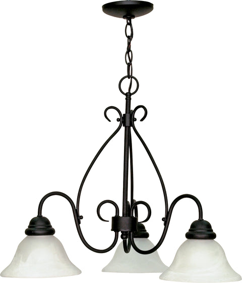Nuvo Lighting 60/378 Castillo 3 Light 26 Inch Chandelier with Alabaster Swirl Glass
