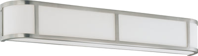 Nuvo Lighting 60/3804 ODEON ES 4 LIGHT WALL SCONCE BRUSHED NICKEL/WHITE GLASS