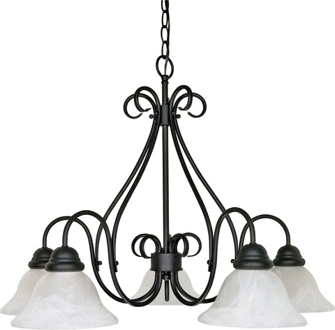 Nuvo Lighting 60/381 Castillo 5 Light 28 Inch Chandelier with Alabaster Swirl Glass