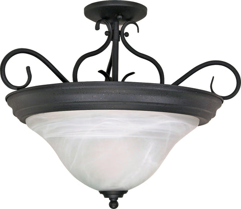 Nuvo Lighting 60/384 Castillo 3 Light 19 Inch Semi Flush with Alabaster Swirl Glass