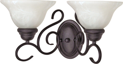 Nuvo Lighting 60/388 Castillo 2 Light 18 Inch Wall Mount Sconce Fixture with Alabaster Swirl Glass