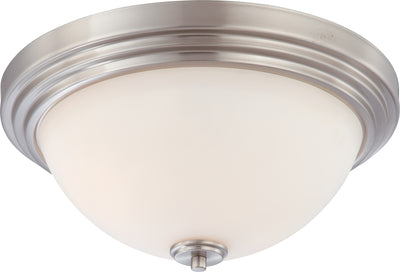 Nuvo Lighting 60/4112 HARMONY 3 LIGHT FLUSH DOME BRUSHED NICKEL/SATIN WHITE GLS