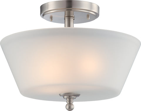 Nuvo Lighting 60/4151 Surrey 2 Light Semi Flush Fixture with Frosted Glass