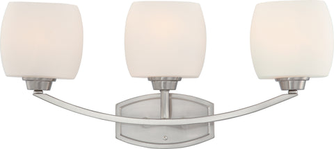 Nuvo Lighting 60/4183 Helium 3 Light Vanity Fixture with Satin White Glass