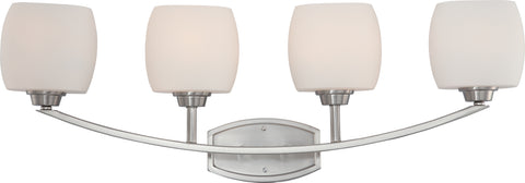 Nuvo Lighting 60/4184 Helium 4 Light Vanity Fixture with Satin White Glass