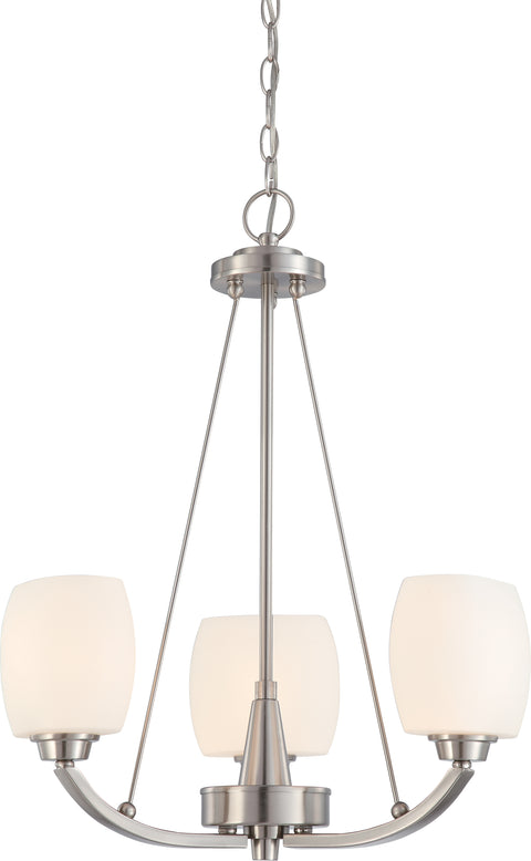 Nuvo Lighting 60/4185 Helium 3 Light Chandelier with Satin White Glass