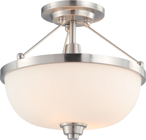 Nuvo Lighting 60/4188 Helium 2 Light Semi Flush Fixture with Satin White Glass