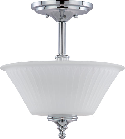 Nuvo Lighting 60/4268 Teller 2 Light Semi Flush Fixture with Frosted Etched Glass
