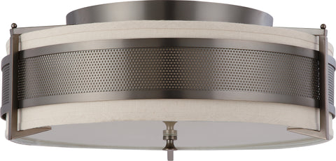 Nuvo Lighting 60/4437 Diesel 4 Light Large Flush with Khaki Fabric Shade