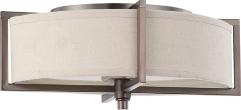 Nuvo Lighting 60/4458 Portia 2 Light Oval Flush with Khaki Fabric Shade (2) 13W GU24 Lamps Included