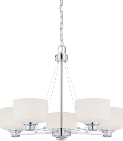 Nuvo Lighting 60/4585 Soho 5 Light Chandelier with Satin White Glass