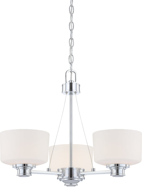 Nuvo Lighting 60/4587 Soho 3 Light Chandelier with Satin White Glass