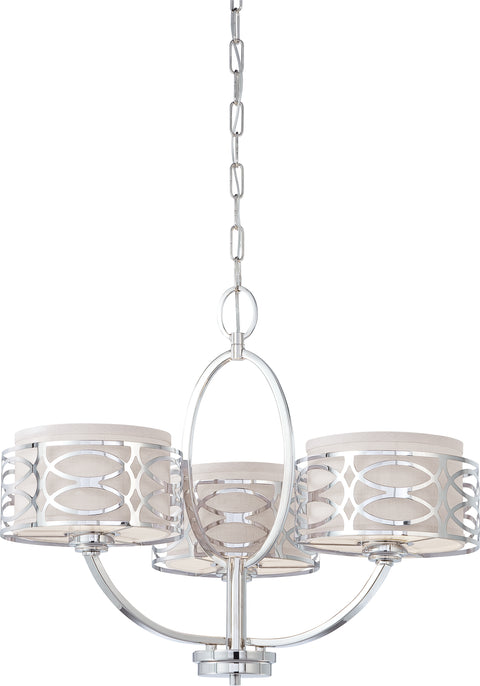 Nuvo Lighting 60/4624 Harlow 3 Light Chandelier with Slate Gray Fabric Shades