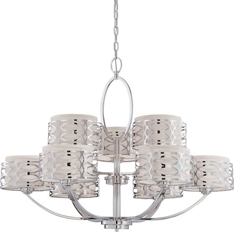 Nuvo Lighting 60/4630 Harlow 9 Light Chandelier with Slate Gray Fabric Shades