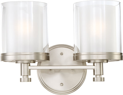 Nuvo Lighting 60/4642 Decker 2 Light Vanity Fixture with Clear and Frosted Glass