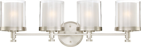 Nuvo Lighting 60/4644 Decker 4 Light Vanity Fixture with Clear and Frosted Glass