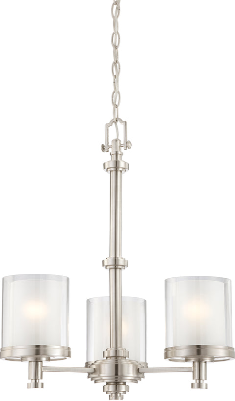 Nuvo Lighting 60/4647 Decker 3 Light Chandelier with Clear and Frosted Glass