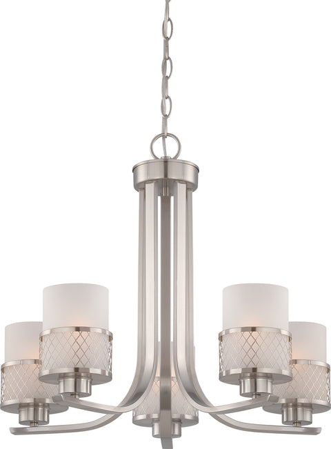 Nuvo Lighting 60/4685 Fusion 5 Light Chandelier with Frosted Glass