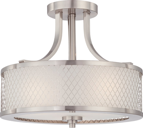 Nuvo Lighting 60/4692 Fusion 3 Light Semi Flush Fixture with Frosted Glass
