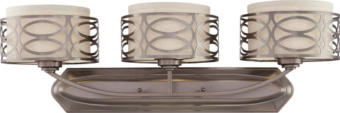 Nuvo Lighting 60/4723 Harlow 3 Light Vanity Fixture with Khaki Fabric Shades