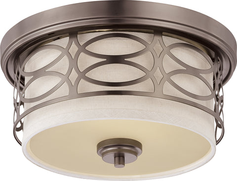 Nuvo Lighting 60/4727 Harlow 2 Light Flush Dome Fixture with Khaki Fabric Shade