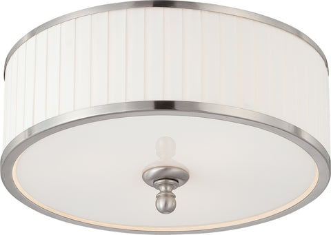 Nuvo Lighting 60/4741 Candice 3 Light Flush Dome Fixture with Pleated White Shade