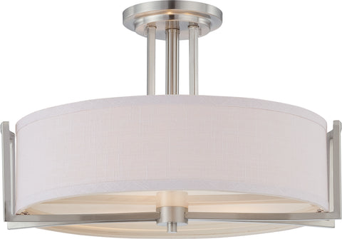 Nuvo Lighting 60/4758 Gemini 3 Light Semi Flush Fixture with Slate Gray Fabric Shade