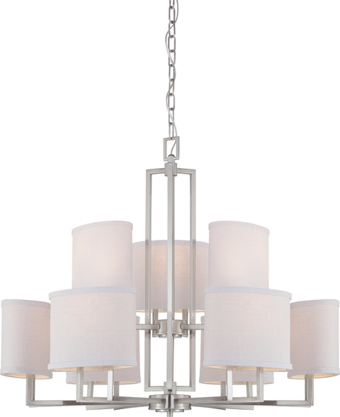 Nuvo Lighting 60/4759 Gemini 9 Light Chandelier with Slate Gray Fabric Shades