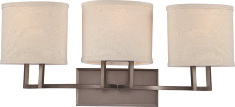 Nuvo Lighting 60/4853 Gemini 3 Light Vanity Fixture with Khaki Fabric Shades