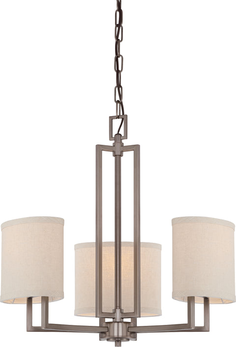 Nuvo Lighting 60/4857 Gemini 3 Light Chandelier with Khaki Fabric Shades