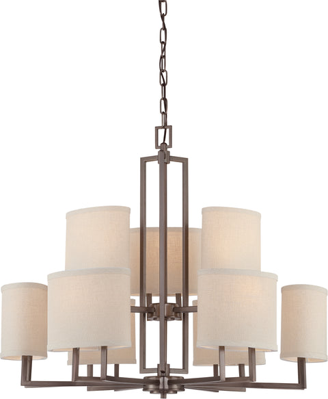 Nuvo Lighting 60/4859 Gemini 9 Light Chandelier with Khaki Fabric Shades