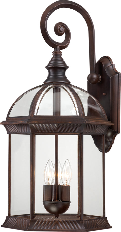 Nuvo Lighting 60/4968 Boxwood 3 Light 26 Inch Outdoor Wall Mount Sconce with Clear Beveled Glass