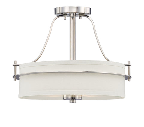 Nuvo Lighting 60/5107 Loren 2 Light Semi Flush with White Linen Shade