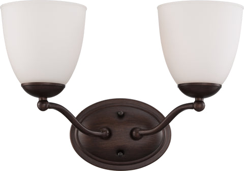 Nuvo Lighting 60/5132 Patton 2 Light Vanity Fixture with Frosted Glass