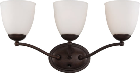Nuvo Lighting 60/5133 Patton 3 Light Vanity Fixture with Frosted Glass