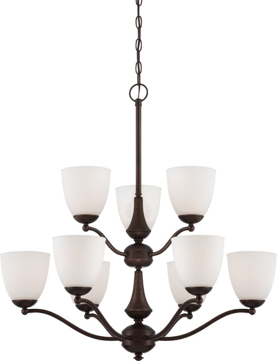 Nuvo Lighting 60/5139 Patton 9 Light 2 Tier Chandelier with Frosted Glass