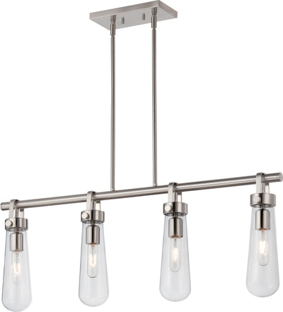 Nuvo Lighting 60/5265 Beaker 4 Light Trestle Fixture with Clear Glass Vintage Lamps Included