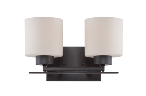 Nuvo Lighting 60/5302 Parallel 2 Light Vanity Fixture with Etched Opal Glass