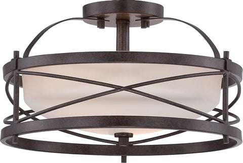 Nuvo Lighting 60/5335 Ginger 2 Light Semi Flush with Etched Opal Glass