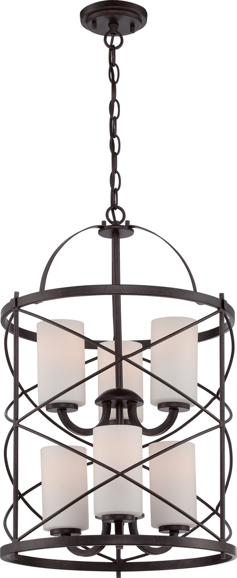 Nuvo Lighting 60/5339 Ginger 6 Light 2 Tier Chandelier with Satin White Glass