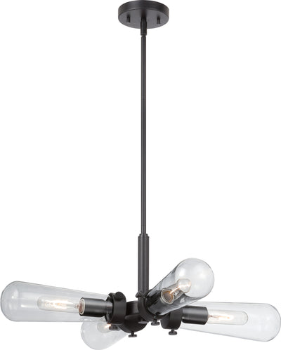 Nuvo Lighting 60/5364 Beaker 4 Light Hanging Fixture with Clear Glass Vintage Lamps Included