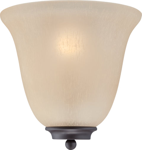 Nuvo Lighting 60/5383 Empire 1 Light Wall Mount Sconce Sconce Mahogany Bronze with Champagne Linen Glass