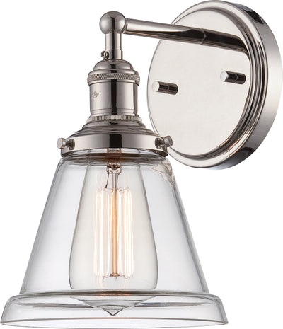 Nuvo Lighting 60/5412 Vintage 1 Light Sconce with Clear Glass Vintage Lamp Included