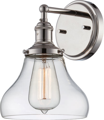 Nuvo Lighting 60/5413 Vintage 1 Light Sconce with Clear Glass Vintage Lamp Included