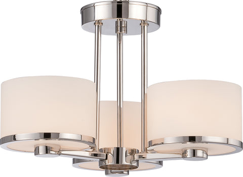 Nuvo Lighting 60/5477 Celine 3 Light Semi Flush with Etched Opal Glass