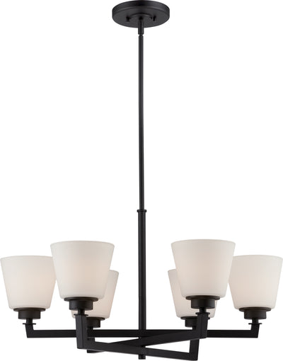 Nuvo Lighting 60/5556 Mobili 6 Light Chandelier with Satin White Glass