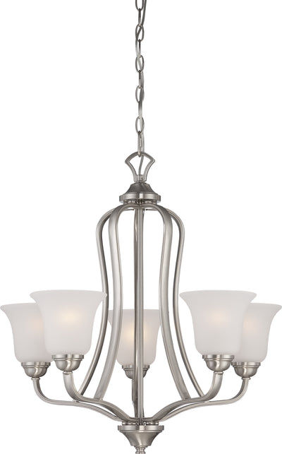 Nuvo Lighting 60/5595 Elizabeth 5 Light Chandelier with Frosted Glass