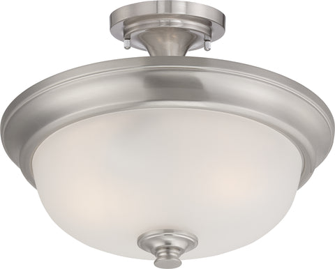 Nuvo Lighting 60/5600 Elizabeth 2 Light Semi Flush with Frosted Glass